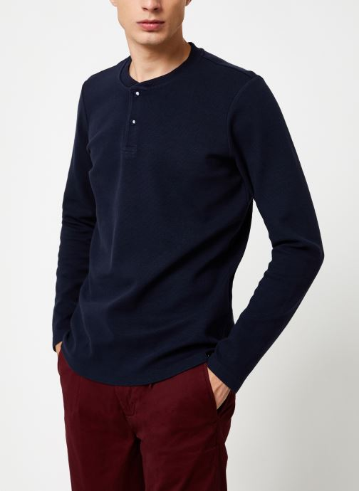 Vêtements Scotch & Soda Longsleeve grandad tee in waffle structured quality Bleu vue droite