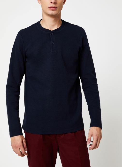 Vêtements Scotch & Soda Longsleeve grandad tee in waffle structured quality Bleu vue détail/paire