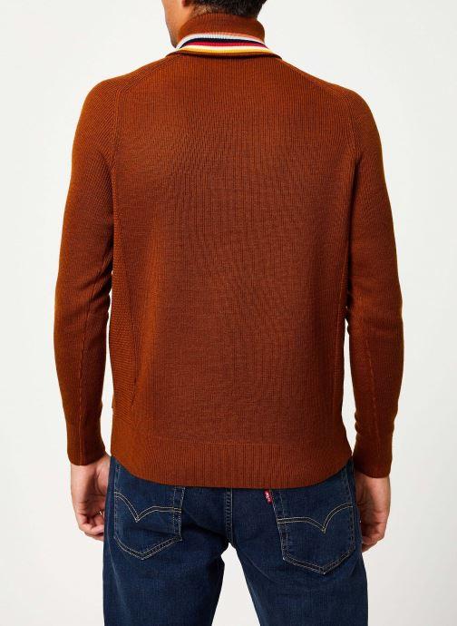 Vêtements Scotch & Soda Lightweight rib knit pullover with high zip-up collar Orange vue portées chaussures
