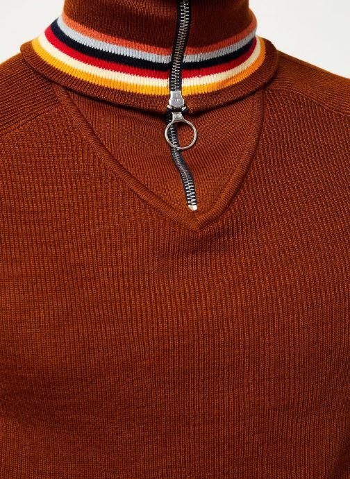 Vêtements Scotch & Soda Lightweight rib knit pullover with high zip-up collar Orange vue face