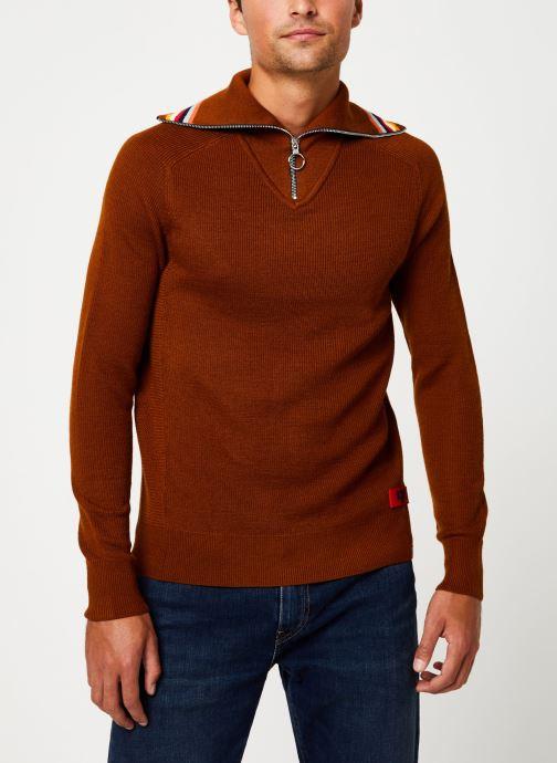 Vêtements Scotch & Soda Lightweight rib knit pullover with high zip-up collar Orange vue droite