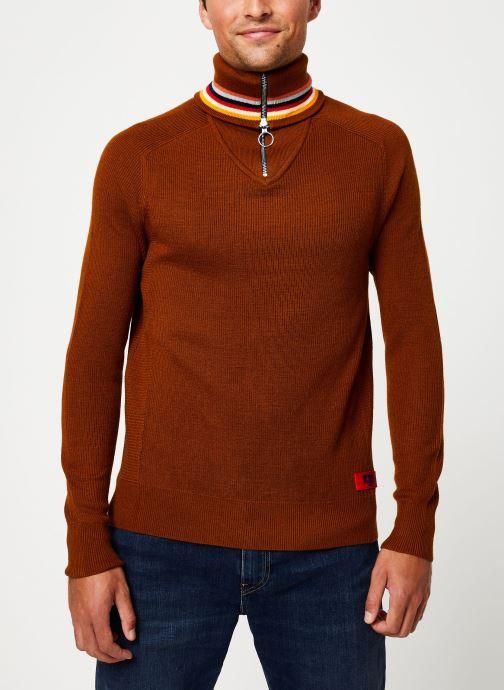 Vêtements Scotch & Soda Lightweight rib knit pullover with high zip-up collar Orange vue détail/paire