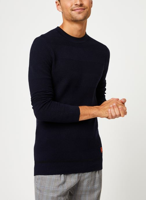 Vêtements Scotch & Soda Classic crewneck pull in structured knit Bleu vue droite