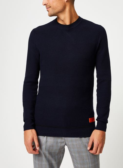 Vêtements Scotch & Soda Classic crewneck pull in structured knit Bleu vue détail/paire