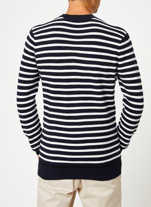 Vêtements Scotch & Soda Classic crewneck pull in structured knit Blanc vue portées chaussures