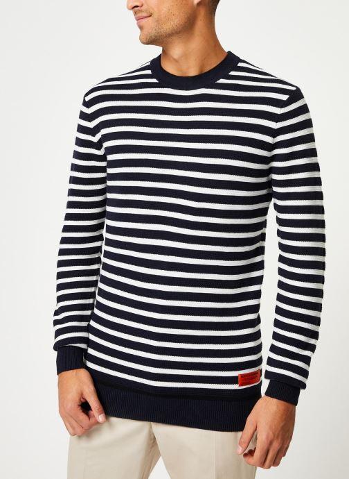 Vêtements Scotch & Soda Classic crewneck pull in structured knit Blanc vue droite