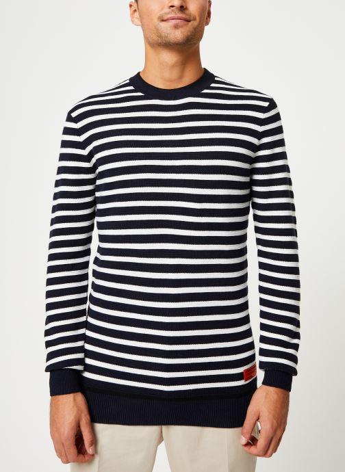 Vêtements Scotch & Soda Classic crewneck pull in structured knit Blanc vue détail/paire