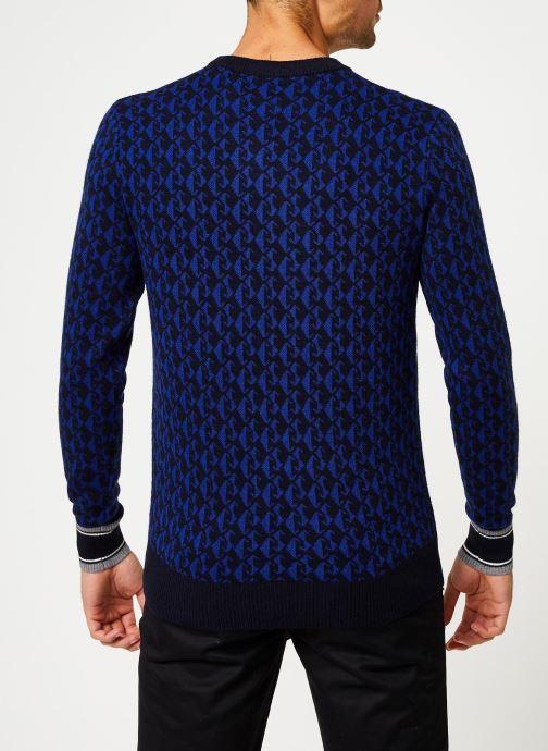 Vêtements Scotch & Soda Jacquard crewneck pull in multicolour pattern Bleu vue portées chaussures