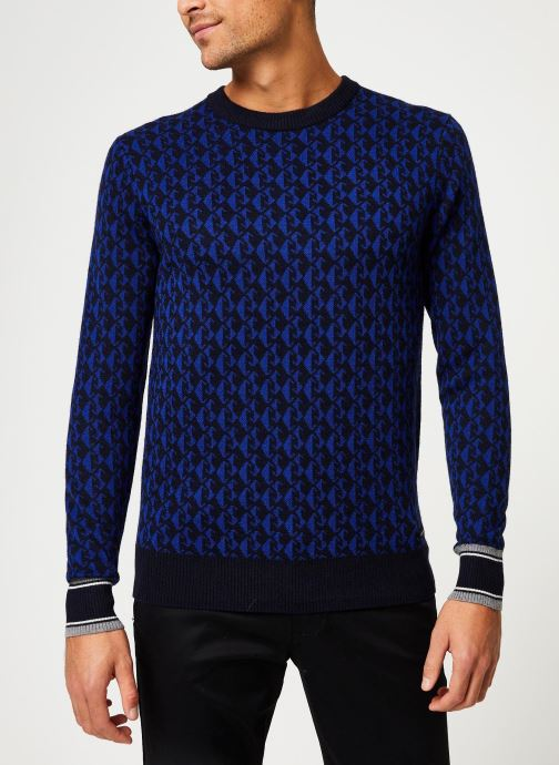 Vêtements Scotch & Soda Jacquard crewneck pull in multicolour pattern Bleu vue droite
