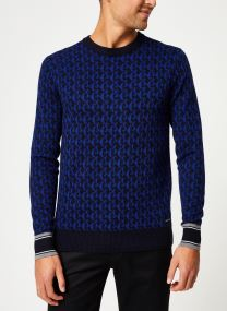 Jacquard crewneck pull in multicolour pattern