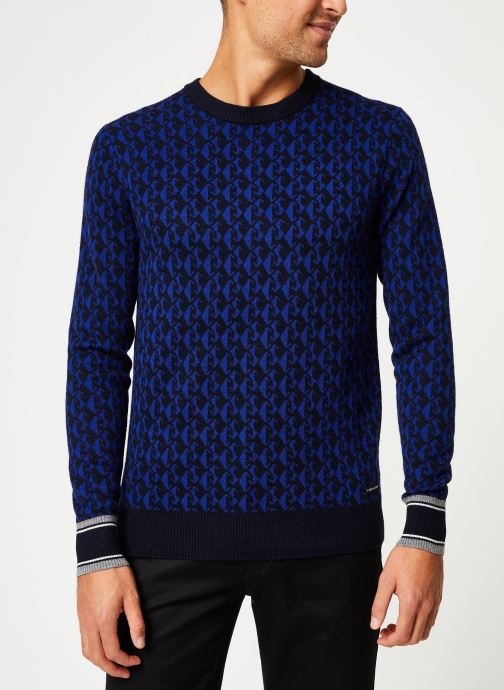 Pull - Jacquard crewneck pull in multicolour patte - Bleu