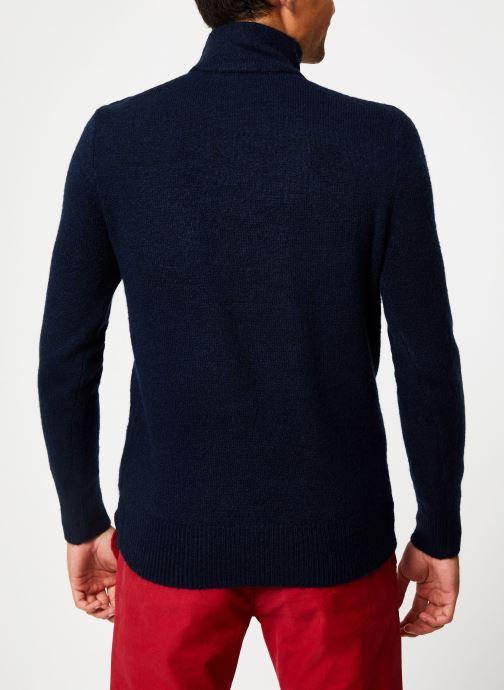 Vêtements Scotch & Soda Marine pull with high collar and button closure Bleu vue portées chaussures