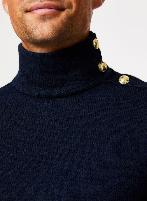 Vêtements Scotch & Soda Marine pull with high collar and button closure Bleu vue face