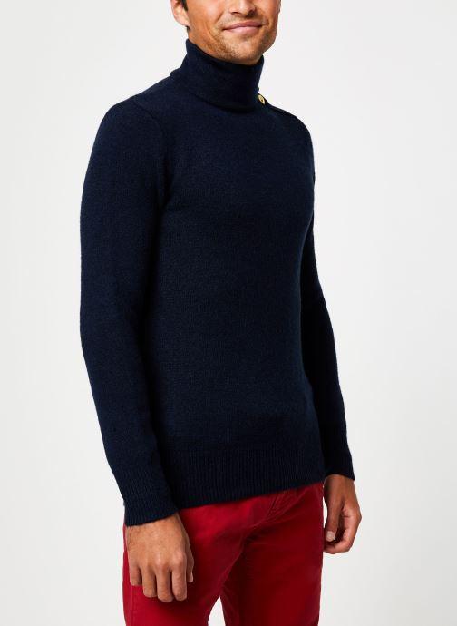 Vêtements Scotch & Soda Marine pull with high collar and button closure Bleu vue droite