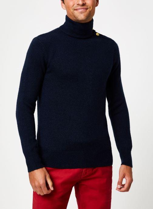 Vêtements Scotch & Soda Marine pull with high collar and button closure Bleu vue détail/paire