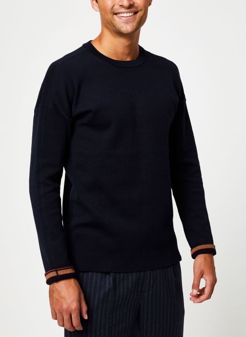 Vêtements Scotch & Soda Reversible crewneck pull with dropped shoulder styling Bleu vue droite