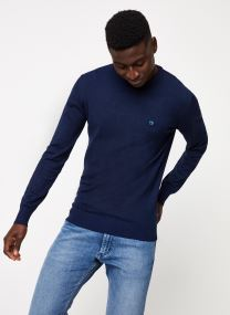 Classic crewneck pull in melange viscose-blend