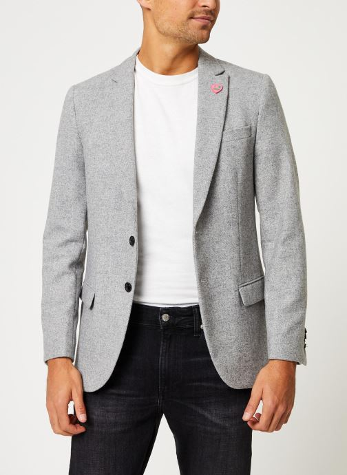 Vêtements Scotch & Soda Peak lapel blazer in wool-blend quality with neps Gris vue droite