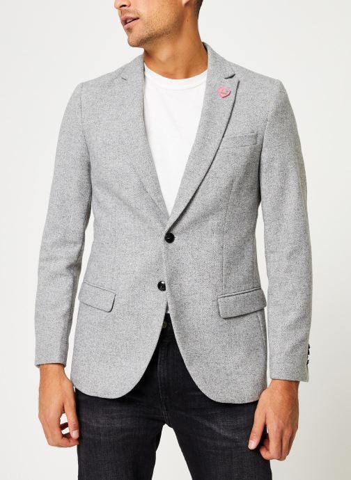 Vêtements Scotch & Soda Peak lapel blazer in wool-blend quality with neps Gris vue détail/paire