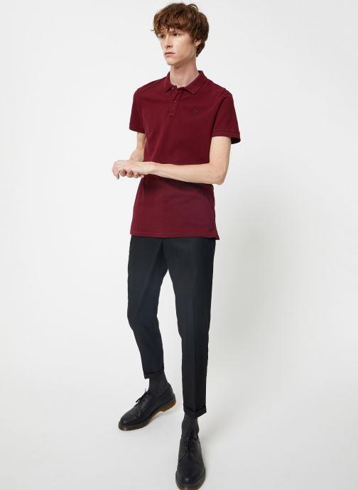 Vêtements Scotch & Soda NOS - Classic garment dyed pique polo Bordeaux vue bas / vue portée sac