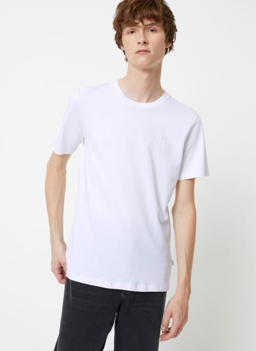 Vêtements Scotch & Soda Cotton tee with wider neck rib Blanc vue droite