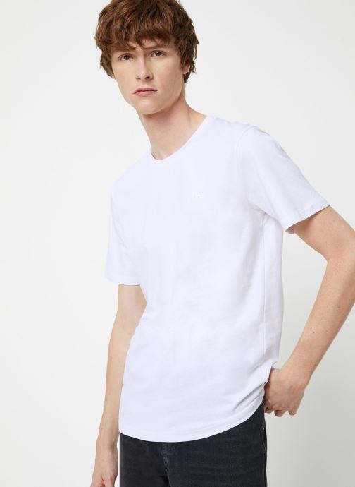 Vêtements Scotch & Soda Cotton tee with wider neck rib Blanc vue détail/paire