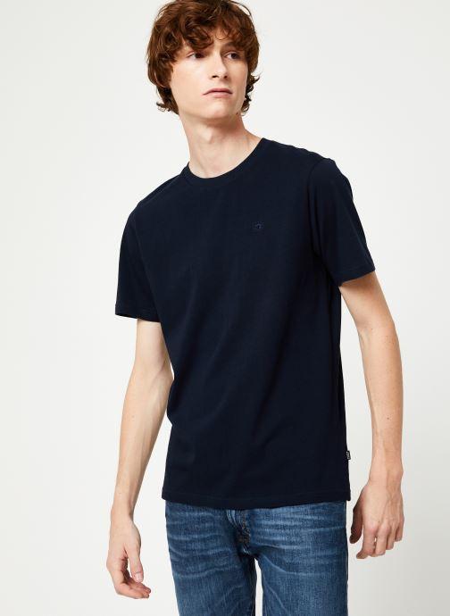 Vêtements Scotch & Soda Cotton tee with wider neck rib Bleu vue droite
