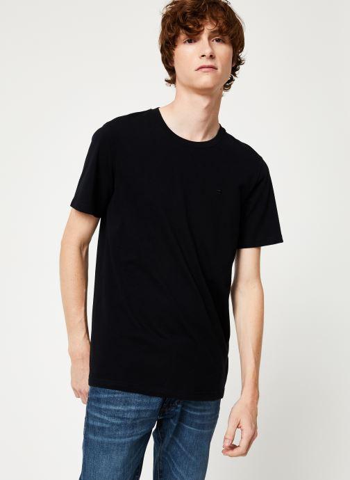 Vêtements Scotch & Soda Cotton tee with wider neck rib Noir vue droite