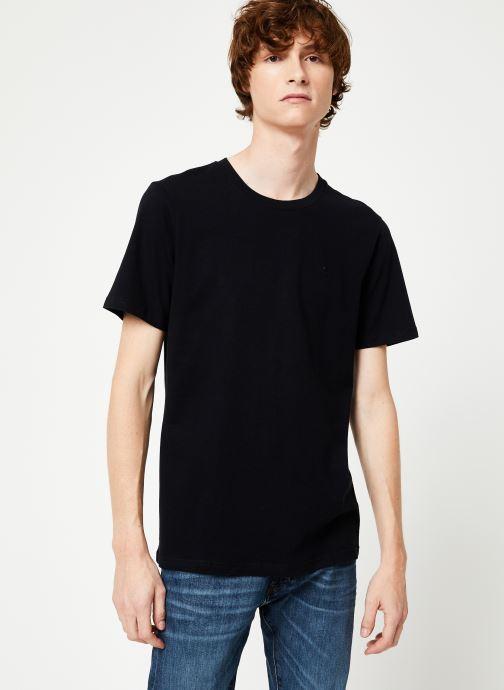 Vêtements Scotch & Soda Cotton tee with wider neck rib Noir vue détail/paire