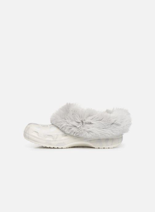 Mules et sabots Crocs Classic Mammoth Luxe Metallic C Blanc vue face