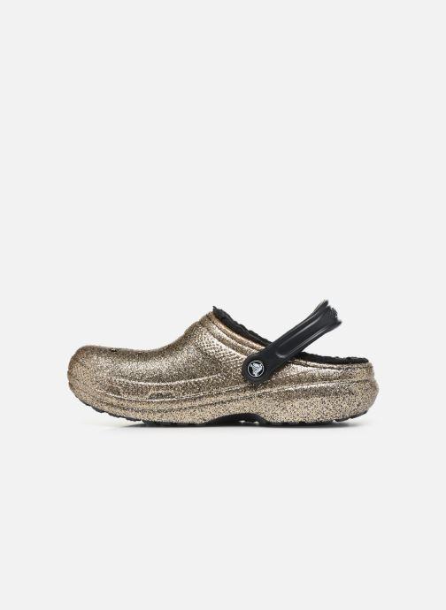 Mules et sabots Crocs Classic Glitter Lined Clog Or et bronze vue face