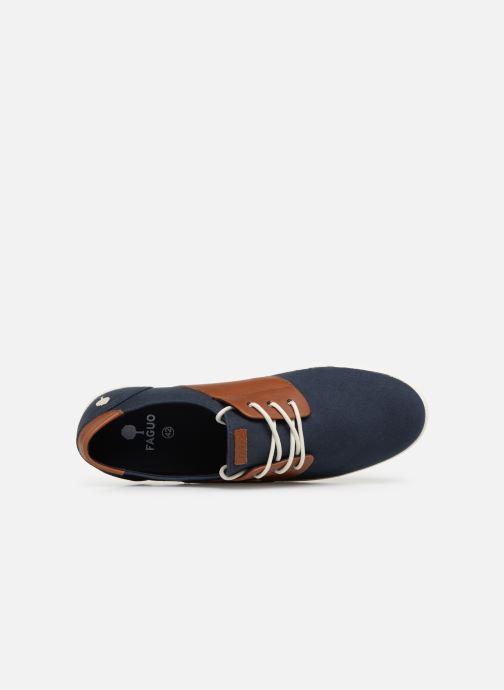 Baskets Faguo Cypress Cotton Leather Bleu vue gauche