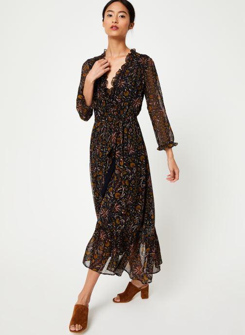 Vêtements Stella Forest ROBE PORTEFEUILLE MIDI FLORE Noir vue bas / vue portée sac
