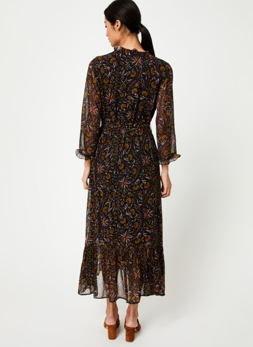 Vêtements Stella Forest ROBE PORTEFEUILLE MIDI FLORE Noir vue portées chaussures