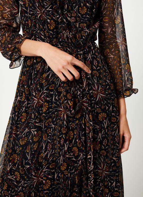 Vêtements Stella Forest ROBE PORTEFEUILLE MIDI FLORE Noir vue face