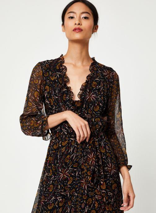 Vêtements Stella Forest ROBE PORTEFEUILLE MIDI FLORE Noir vue droite