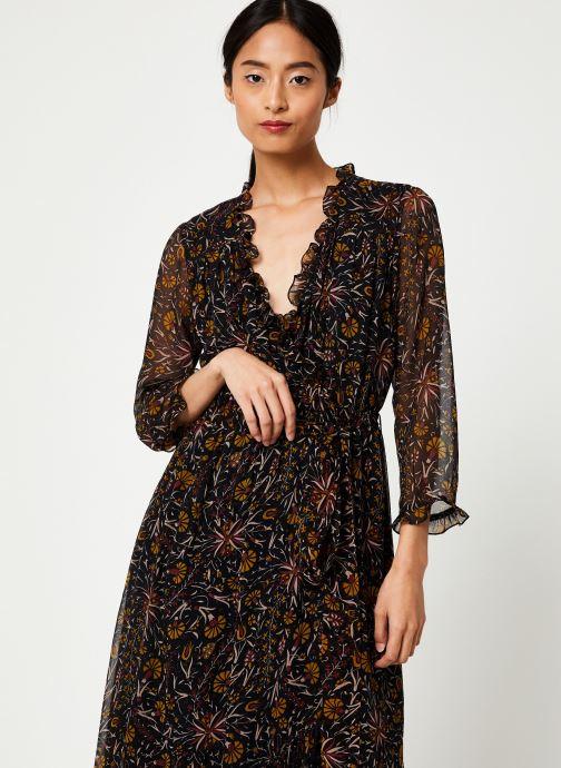 Vêtements Stella Forest ROBE PORTEFEUILLE MIDI FLORE Noir vue détail/paire