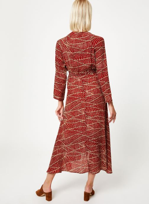 Vêtements Stella Forest ROBE MIDI PORTEFEUILLE HOJA Rouge vue portées chaussures
