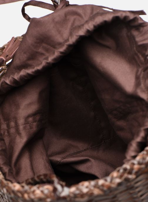 Sacs à main Dragon Diffusion SINGLE LIZARD ROUND BUCKET Marron vue derrière
