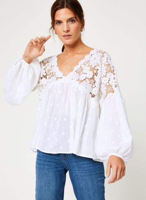 Vêtements Free People LINA LACE TOP Blanc vue droite