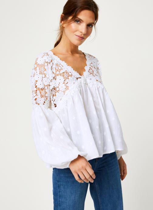 Vêtements Free People LINA LACE TOP Blanc vue détail/paire