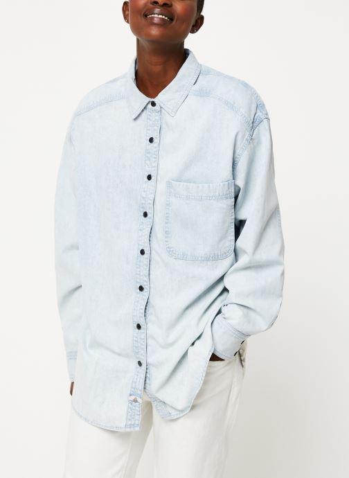 Vêtements Free People ECHO ROCK CHAMBRAY BUTTON INDIGO Bleu vue droite