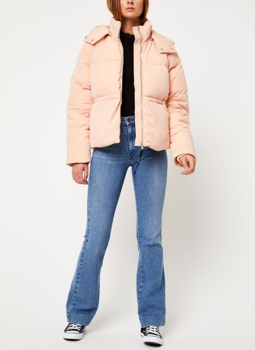 Vêtements Tommy Jeans TJW TOMMY DETAIL PUFFA JACKET HOOD Rose vue bas / vue portée sac