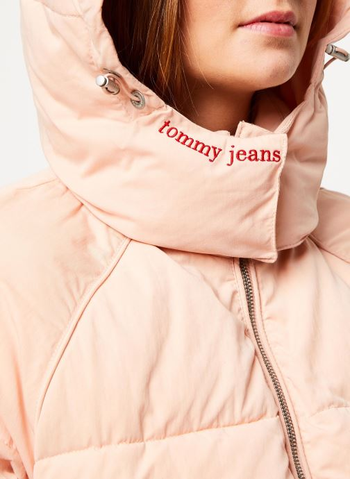 Vêtements Tommy Jeans TJW TOMMY DETAIL PUFFA JACKET HOOD Rose vue face