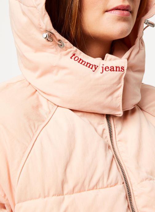 Vêtements Tommy Jeans TJW TOMMY DETAIL PUFFA JACKET HOOD Rose vue face