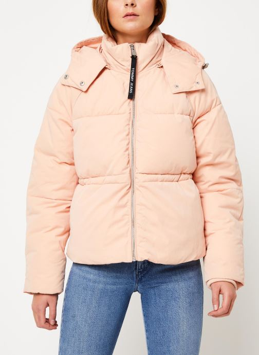 Vêtements Tommy Jeans TJW TOMMY DETAIL PUFFA JACKET HOOD Rose vue droite