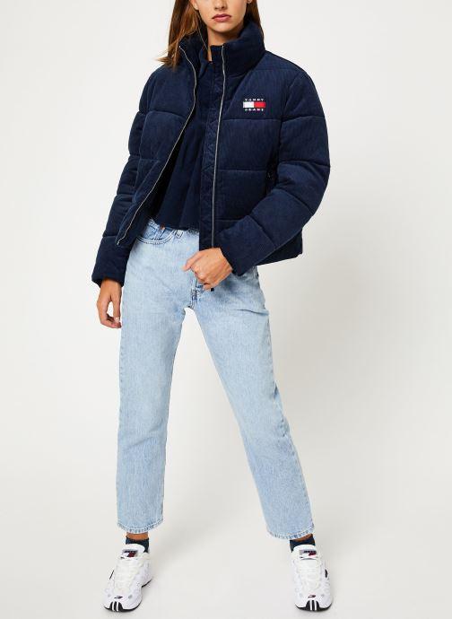 Vêtements Tommy Jeans TJW CORD PUFFA JACKET Bleu vue bas / vue portée sac