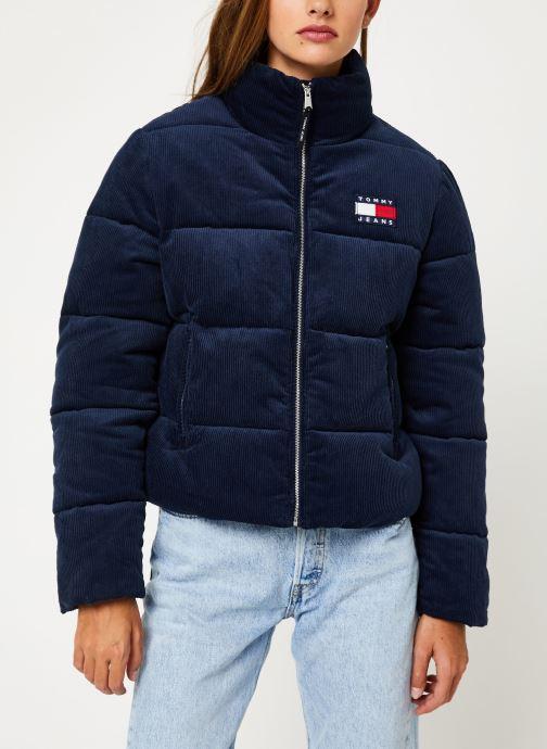 Vêtements Tommy Jeans TJW CORD PUFFA JACKET Bleu vue droite