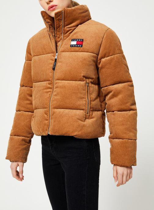 Vêtements Tommy Jeans TJW CORD PUFFA JACKET Marron vue droite