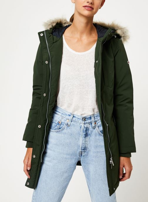 Vêtements Tommy Jeans TJW TECHINCAL DOWN PARKA Vert vue détail/paire